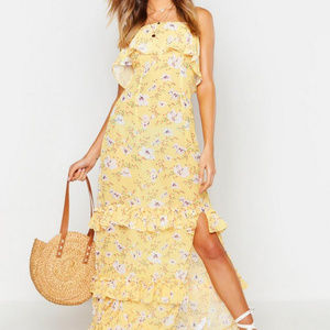 Bandeau Frill Tiered Maxi Dress Yellow